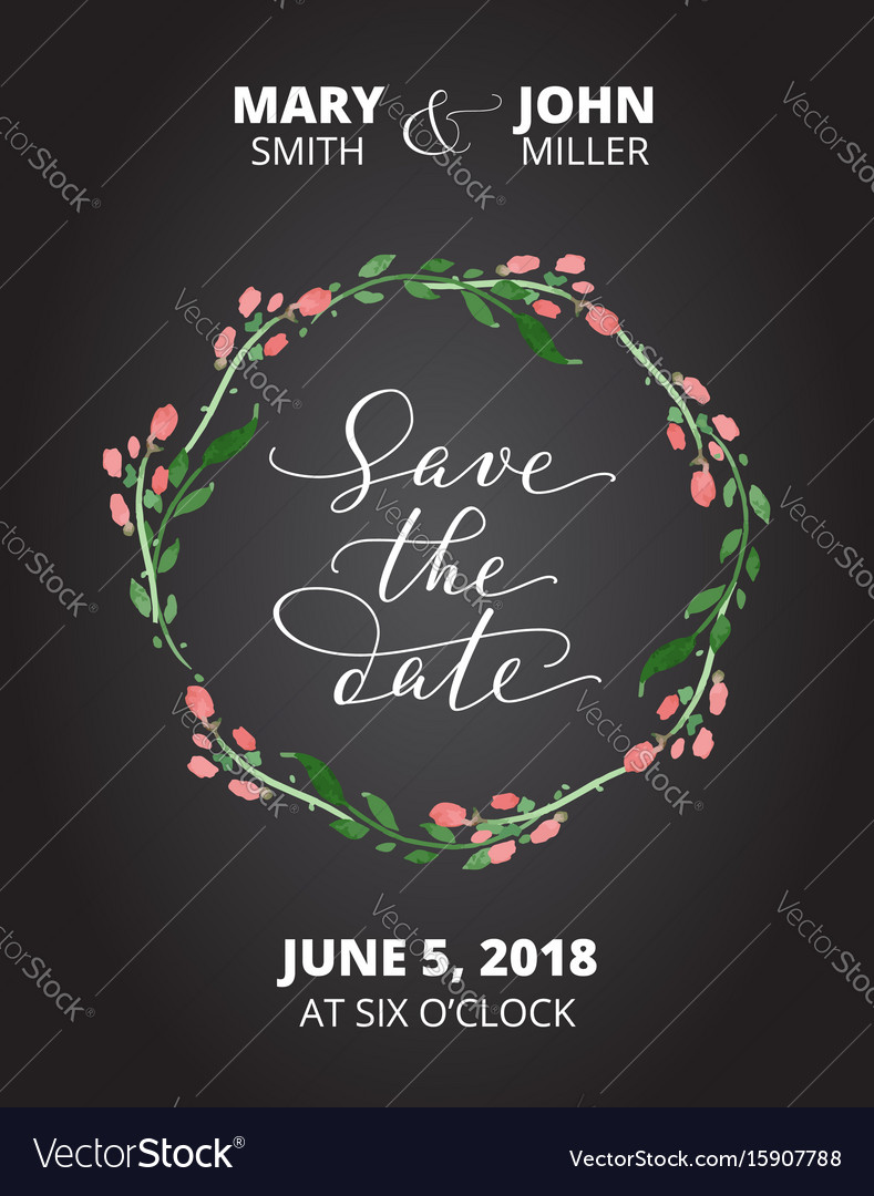 Save the date card with watercolor floral wreath
