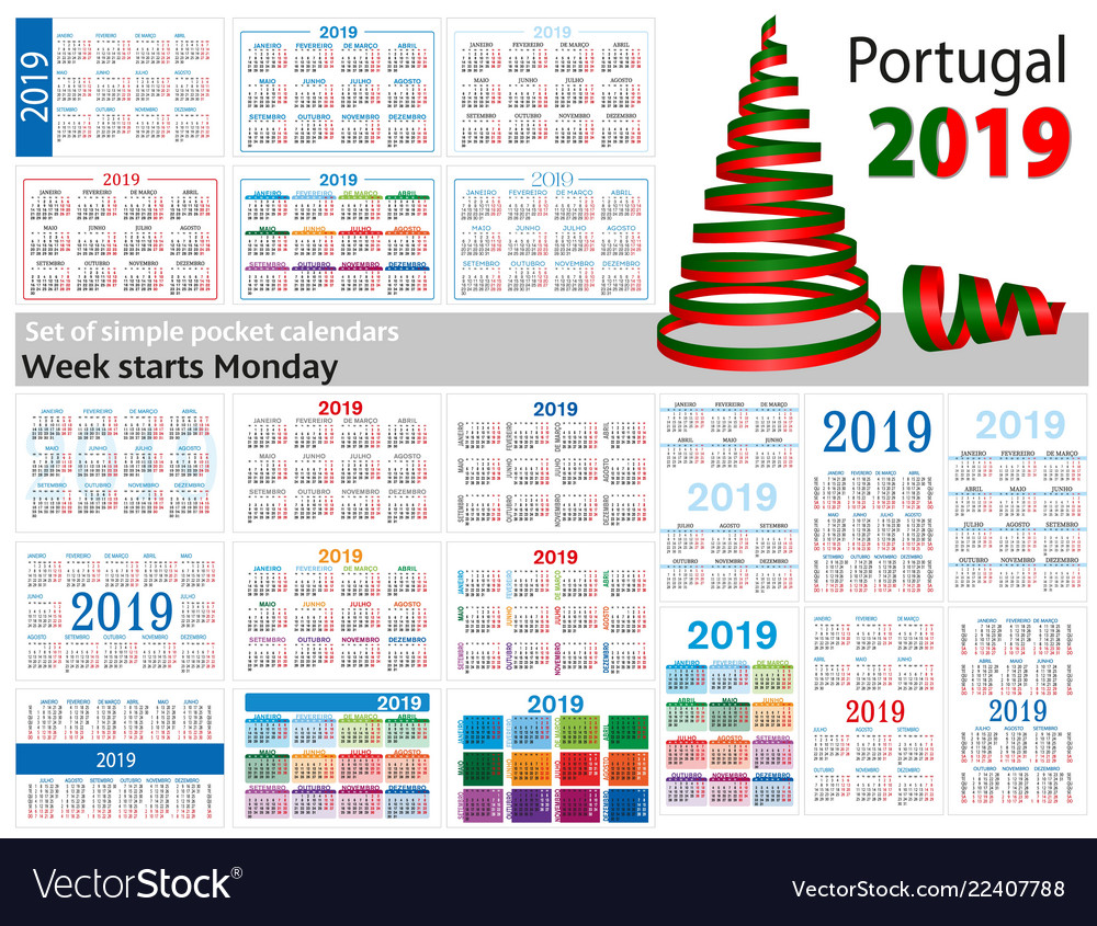 Christmas In Portugal 2019.Set Of Simple Pocket Calendars For 2019 Two Vector Image