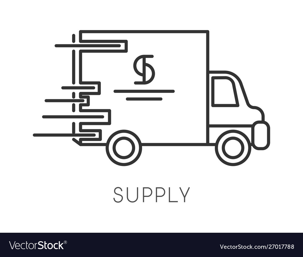 Supply isolated linear icon logistics and