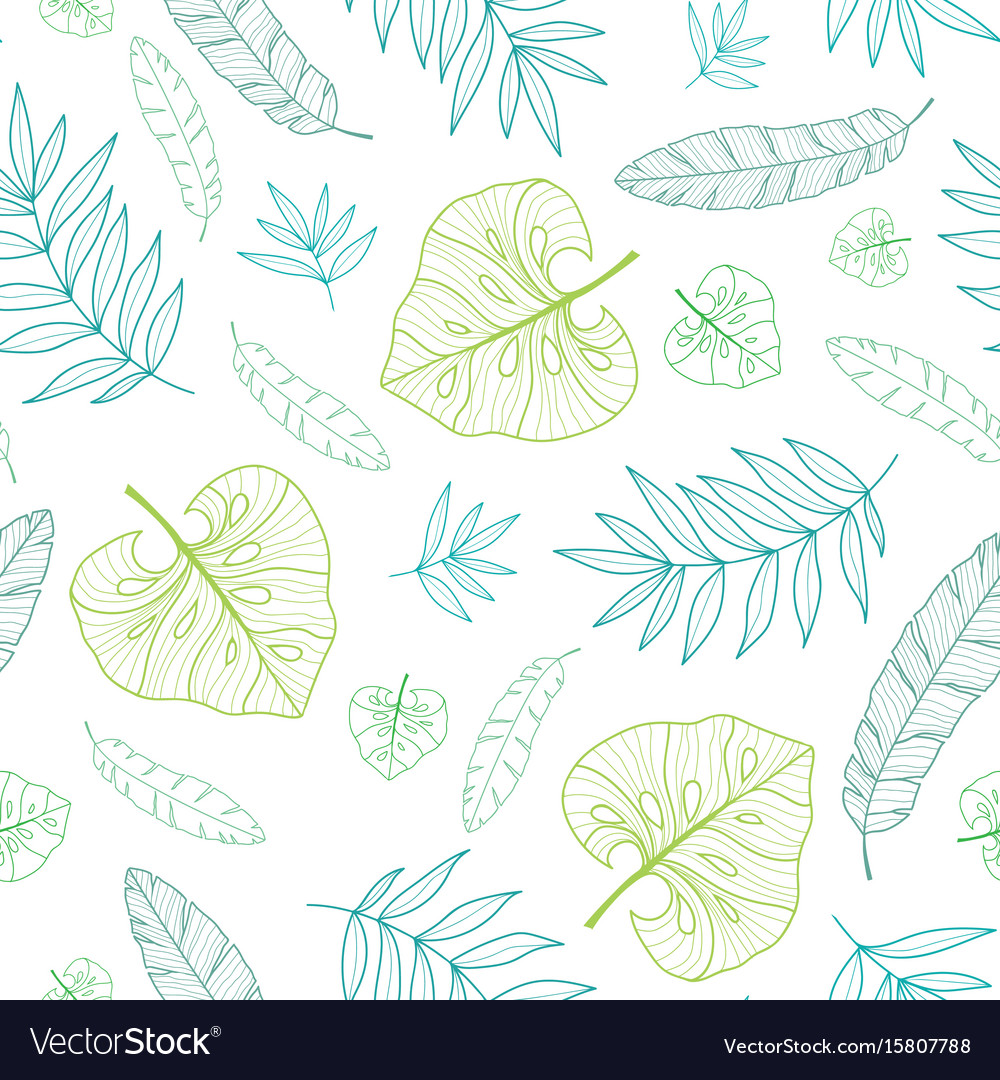 Tropical drawing summer hawaiian seamless vector image