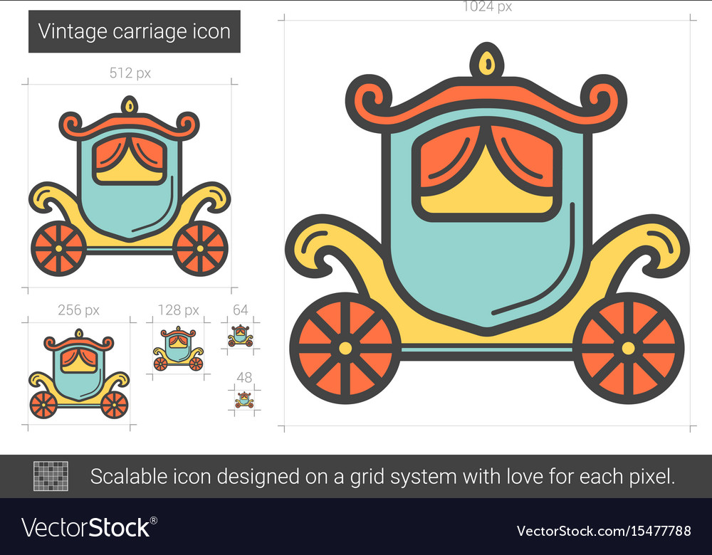 Vintage carriage line icon