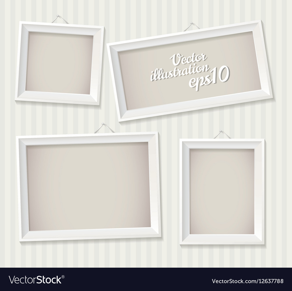 White empty frame hanging on the wall eps 10 Set Vector Image