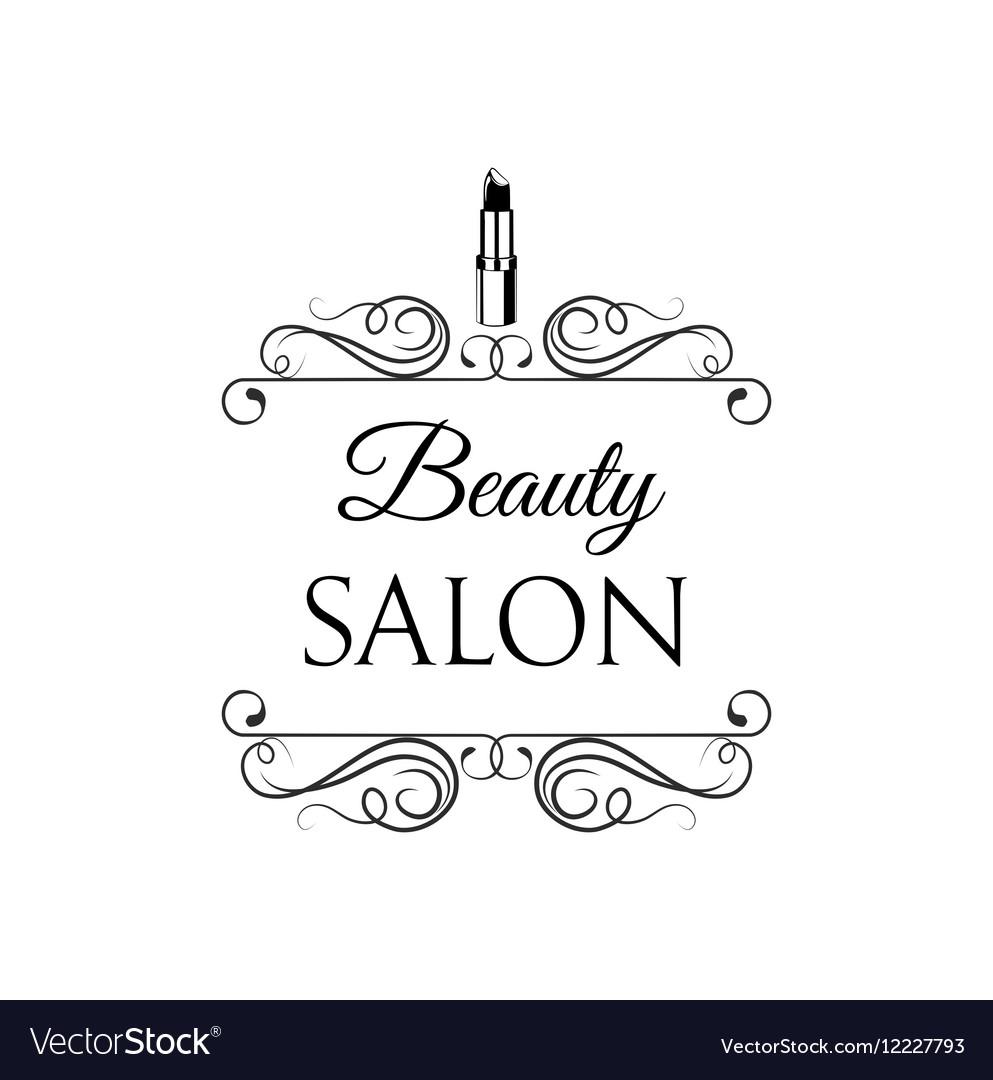 Beauty Salon Label Lips Lipstick Badge Filigree