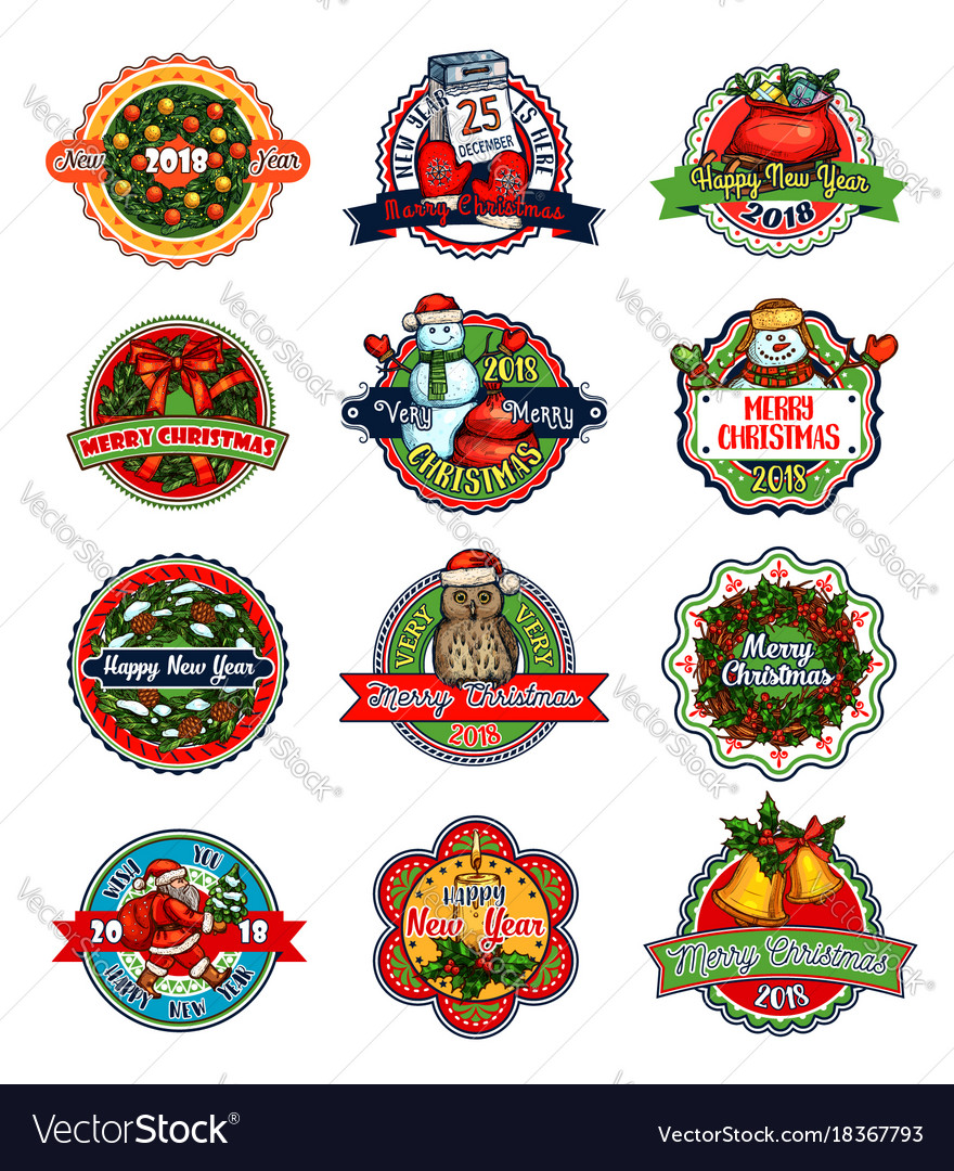 Christmas and new year holiday gift label or badge