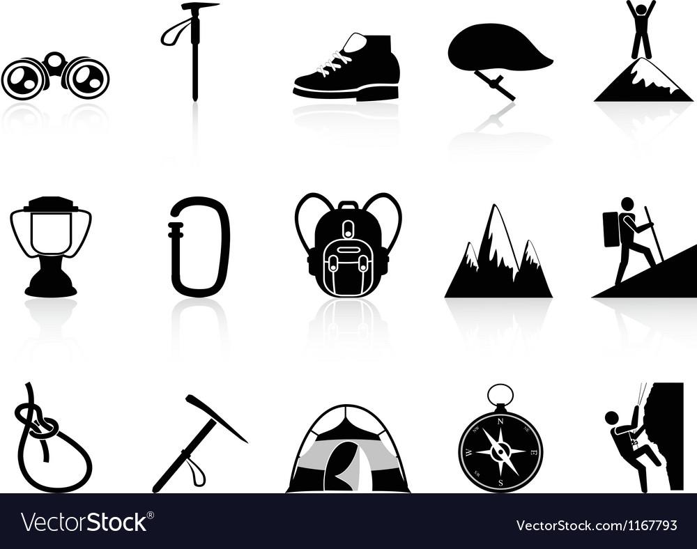 Climbing mountain icons set vector image
