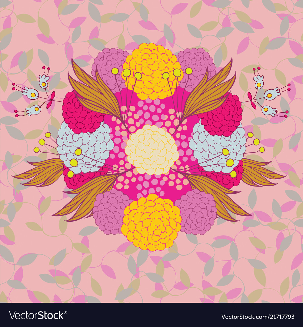 Colorful hand - drawn floral pattern