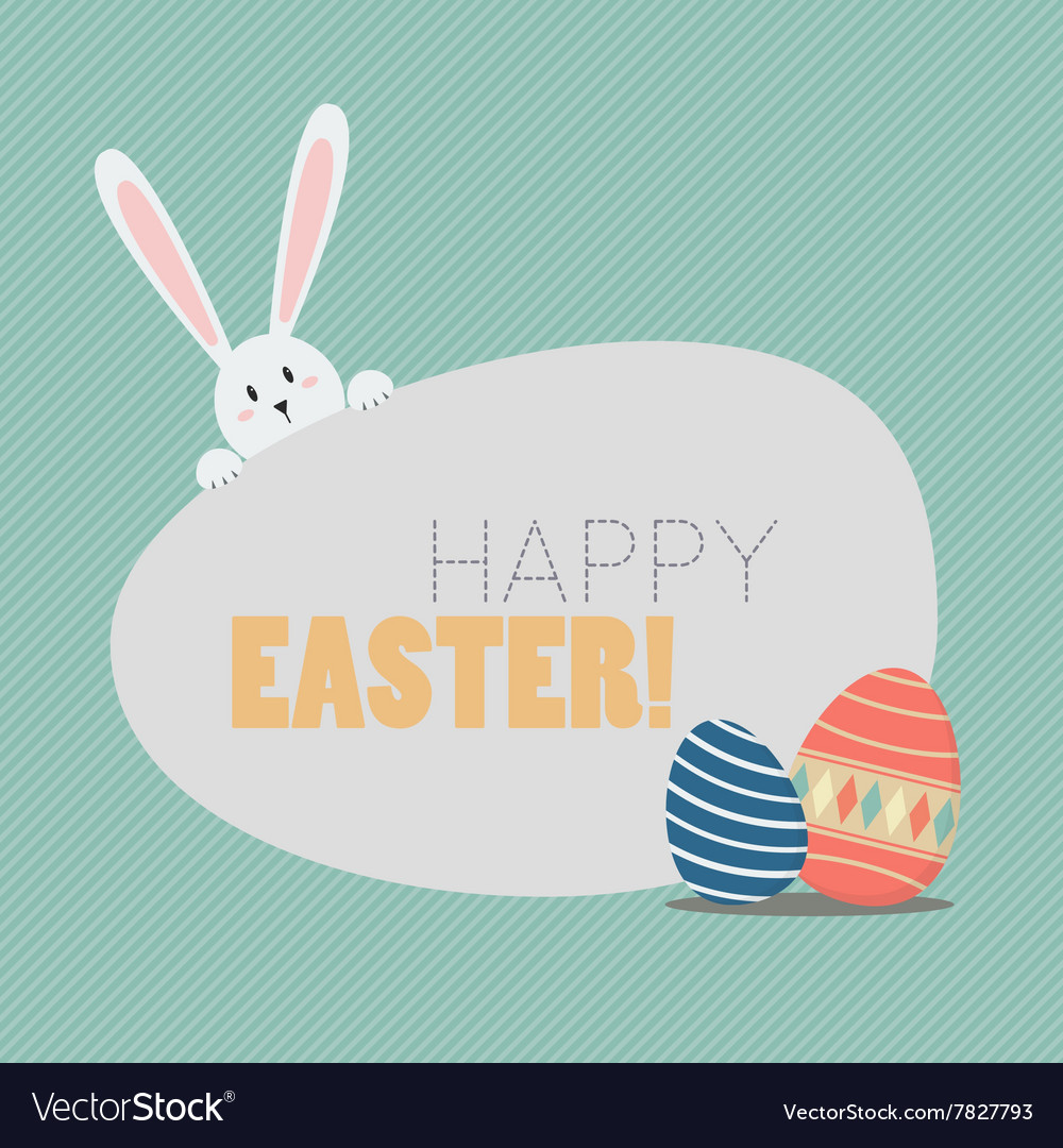Happy easter with easter eggs and bunny