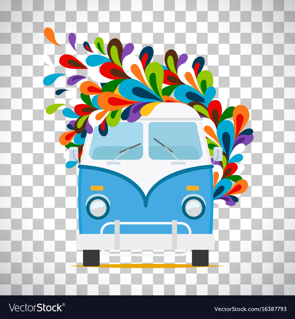 Hippie flowers bus on transparent background vector image