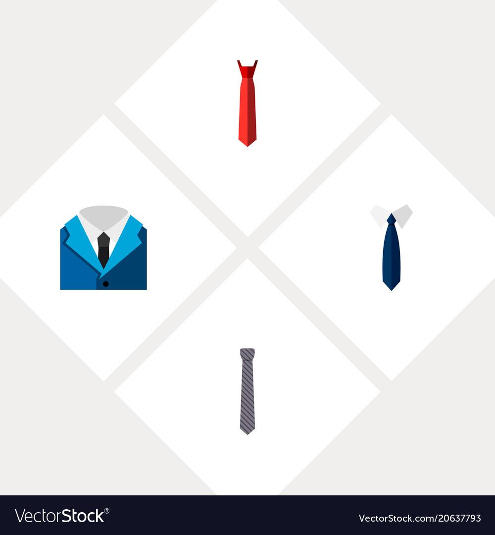 Icon flat clothing set of tie tailoring shirt
