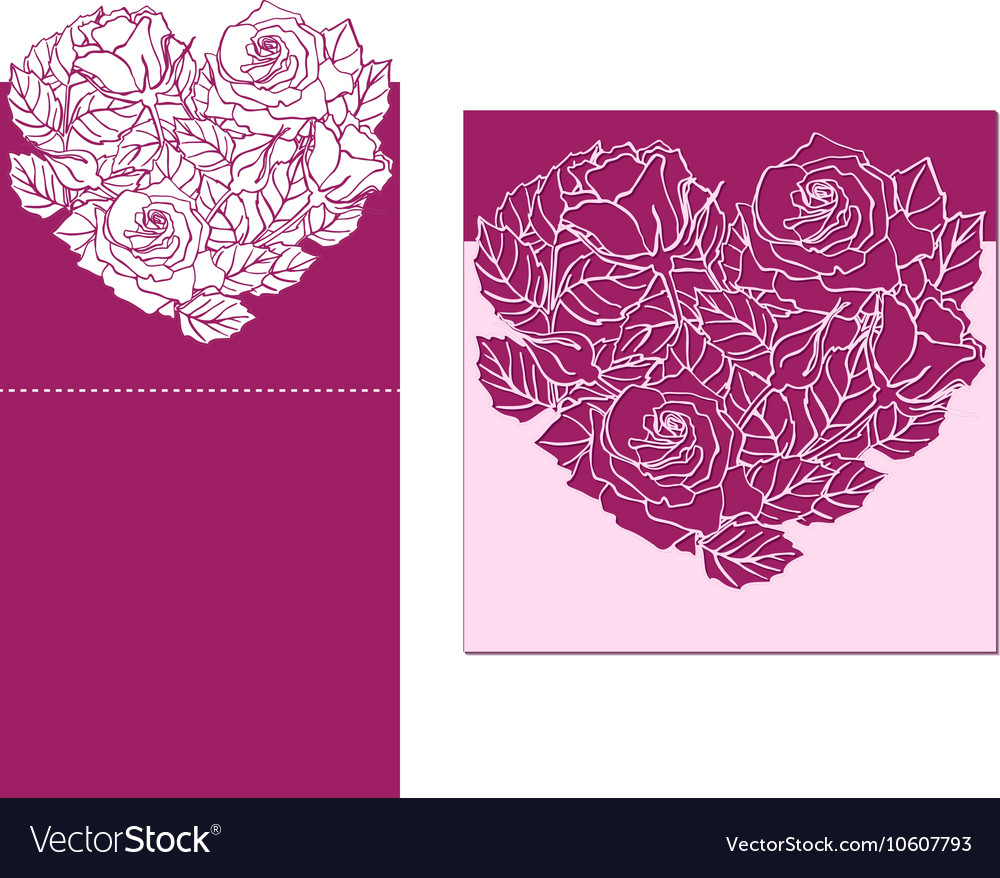 Laser cut card temlate with rose heart