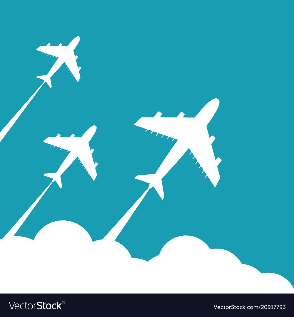 Plane fly on blue cloud sky background with blank vector image