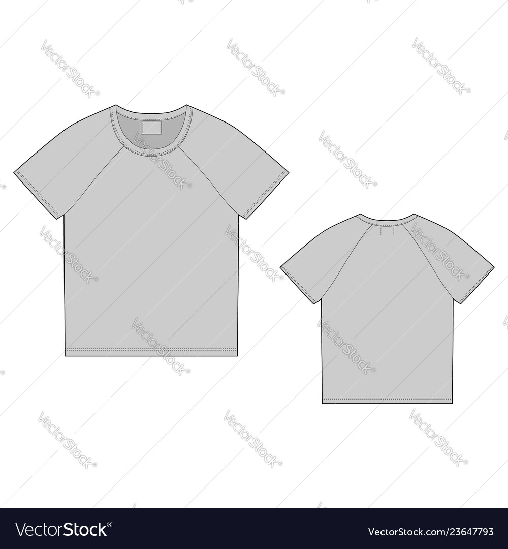 T-shirt design template front and back technical