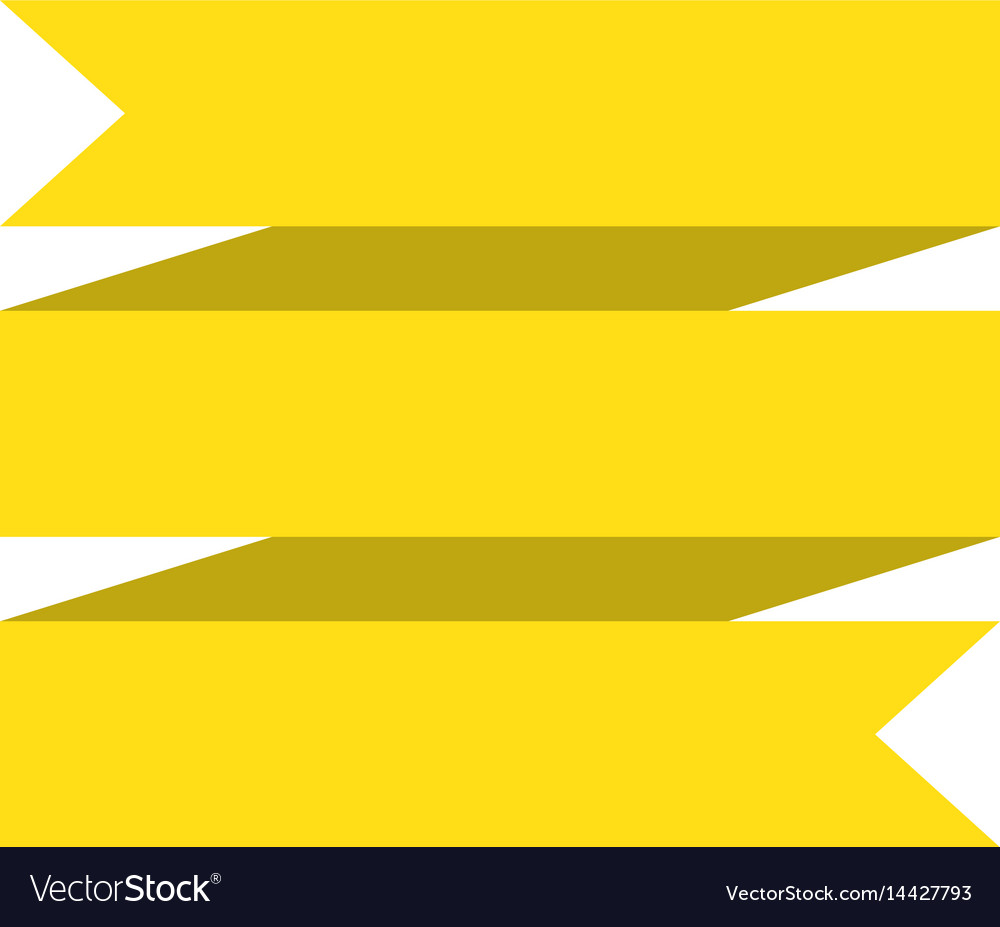 Yellow ribbon banner on white background yellow