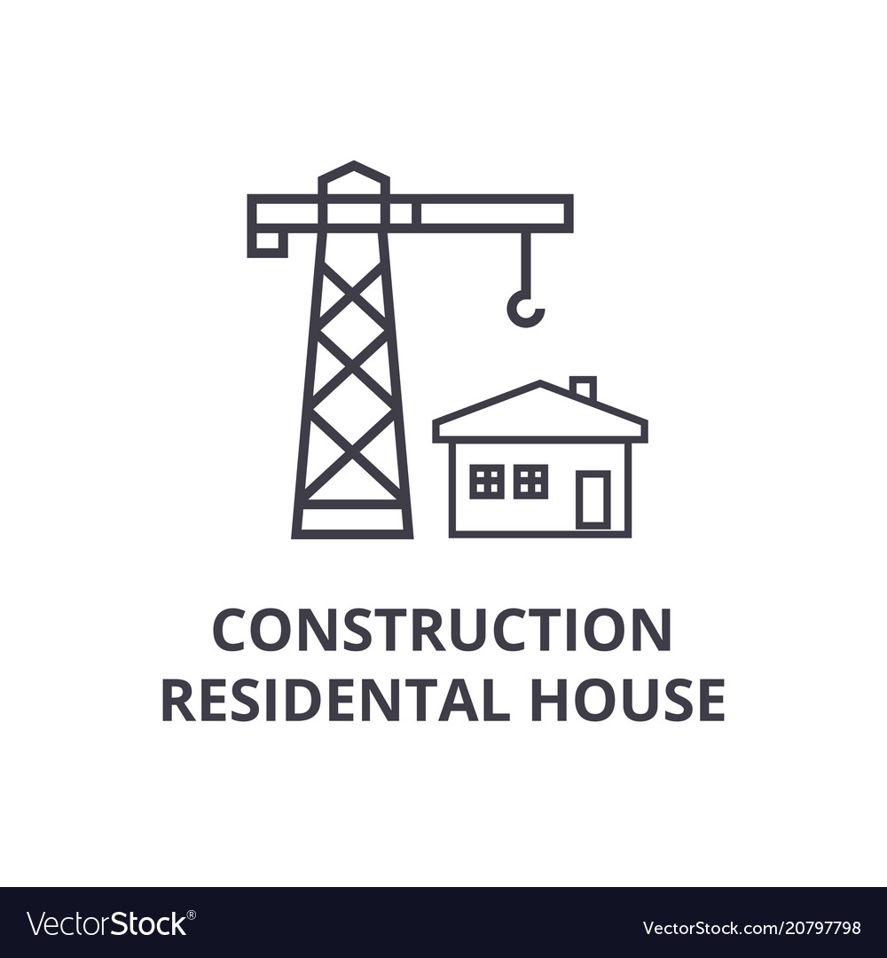 Construction residental house line icon vector image