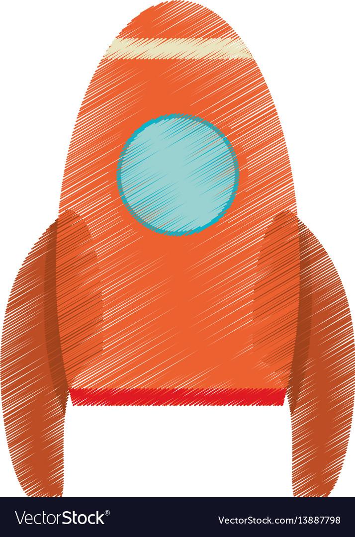 Drawing orange rocket space travel