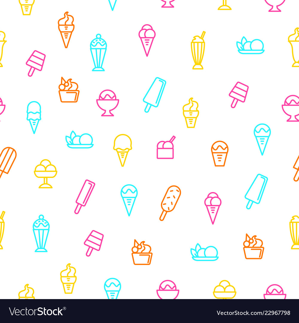 Ice cream signs thin line seamless pattern