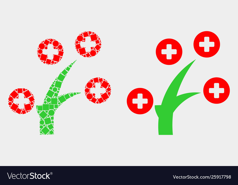Pixelated and flat medical tree icon