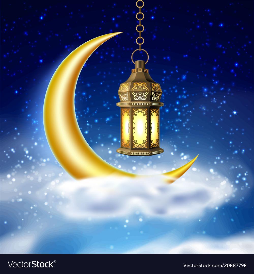 Ramadan kareem lantern realistic moon