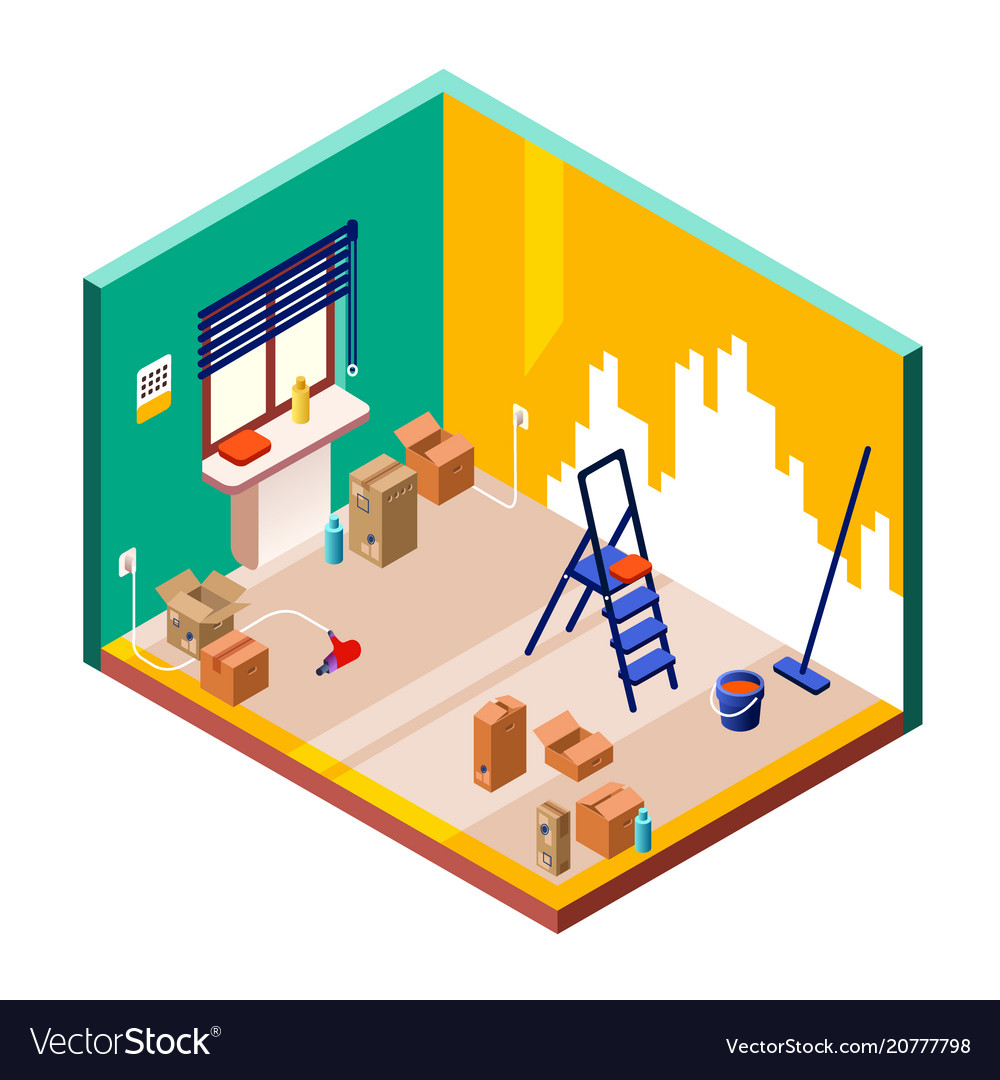 Room renovation isometric