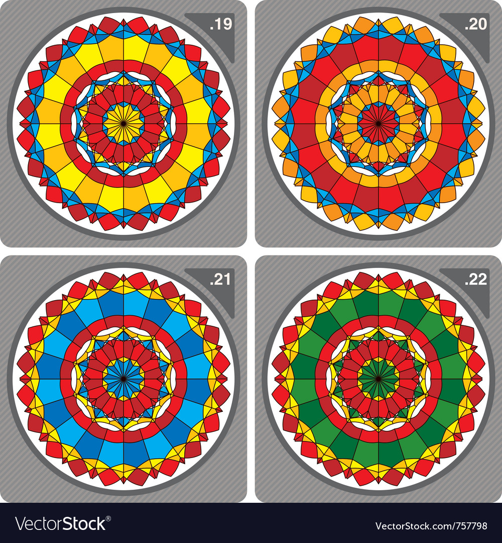 Set of colorful circular ornaments