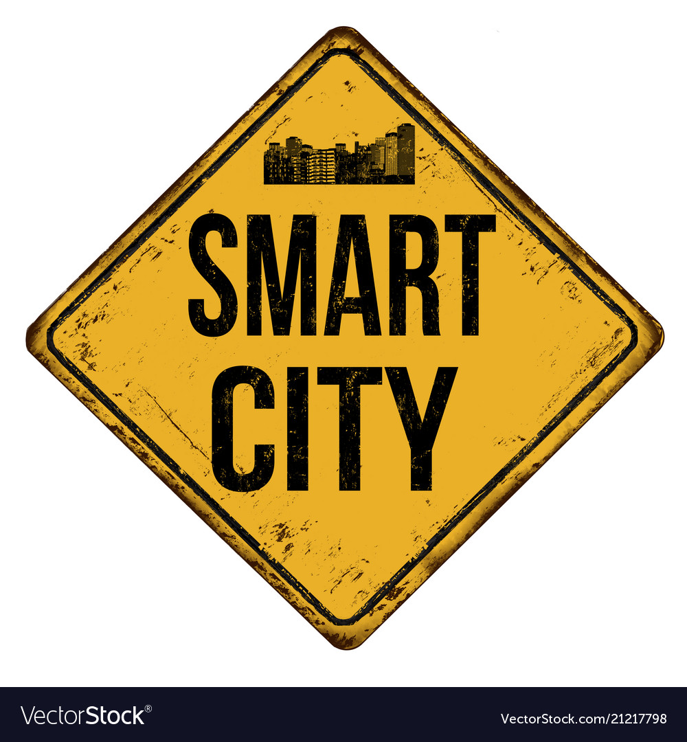 Smart city vintage rusty metal sign