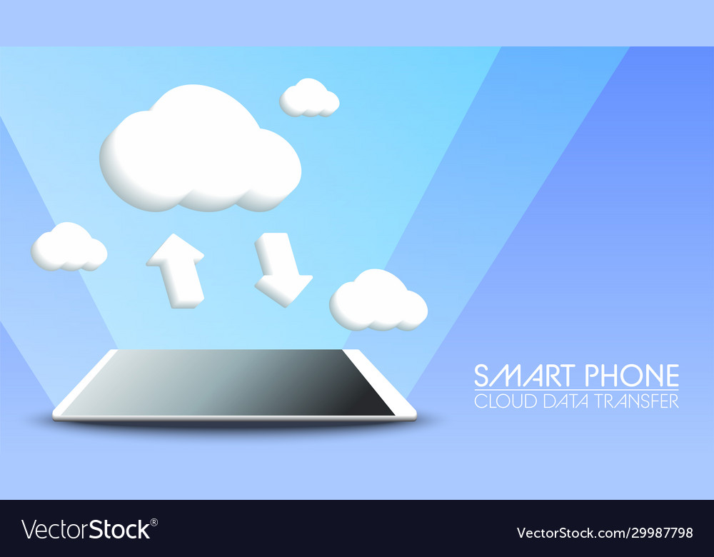 Smart phone cloud data transfer on blue background