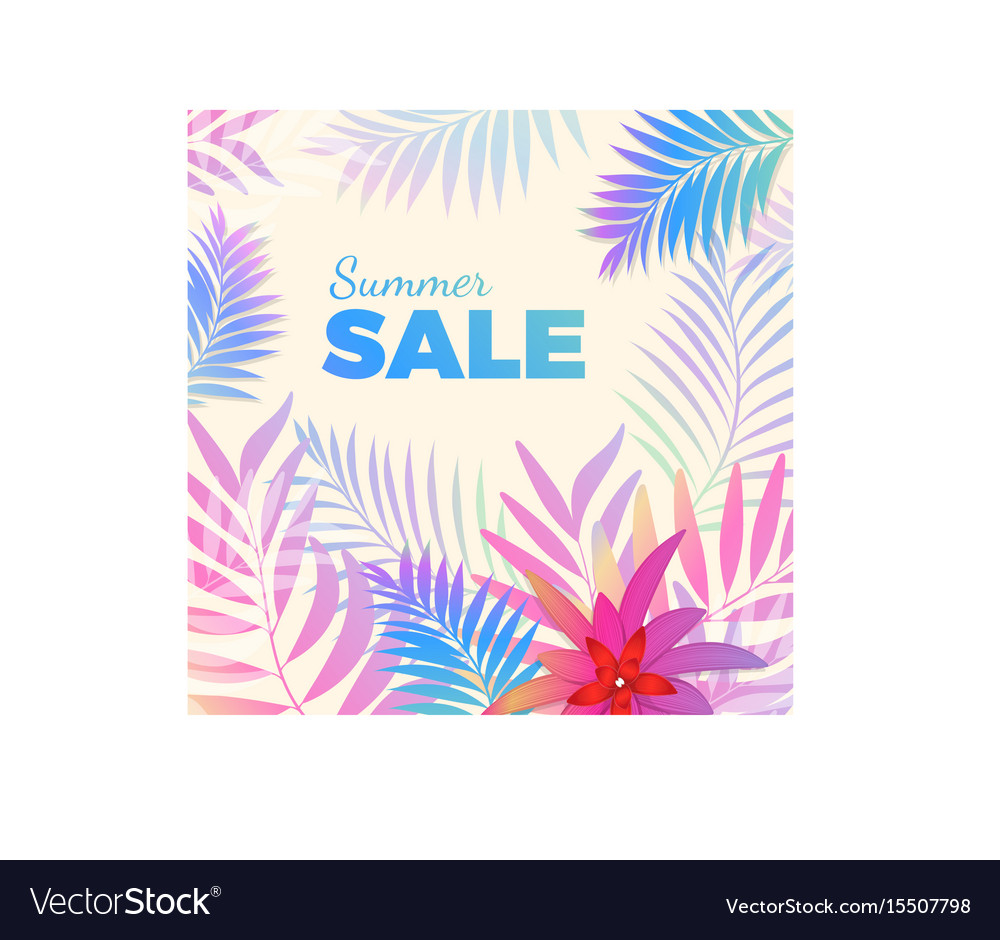 Summer sale bright poster with palm leaves on