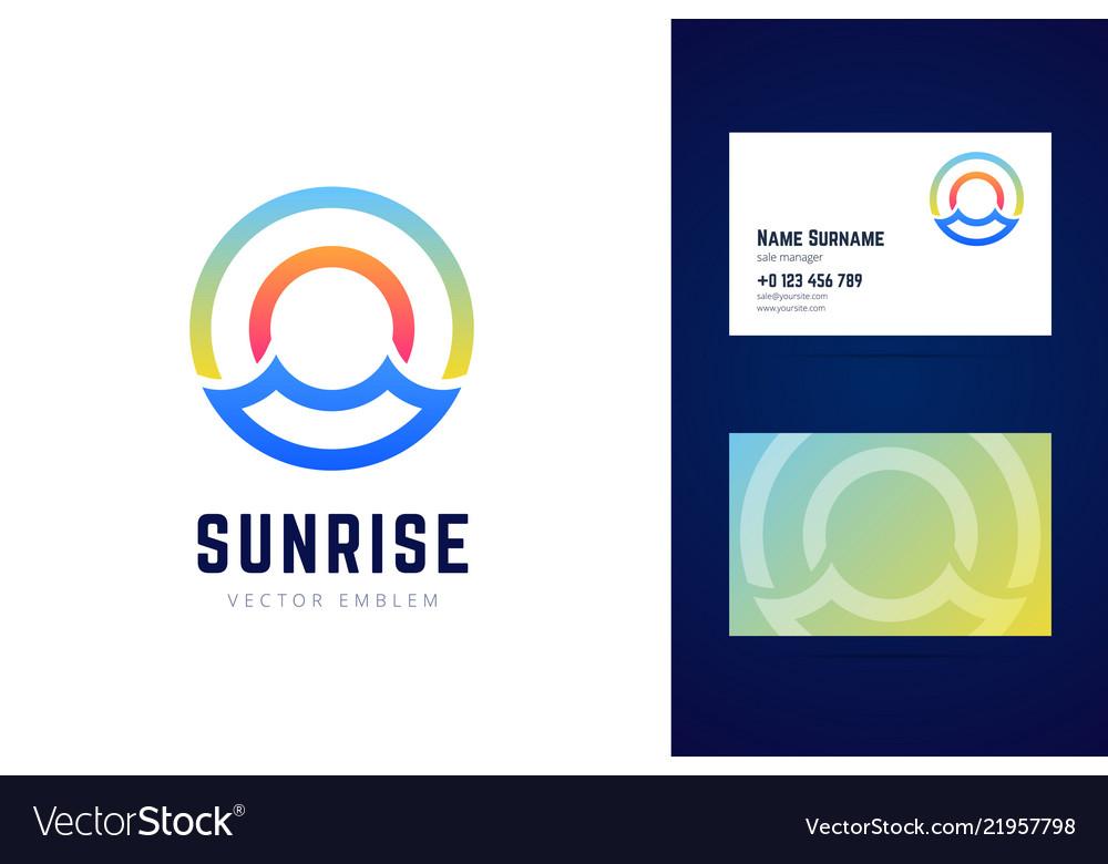 Sunrise logo and business card template sea waves