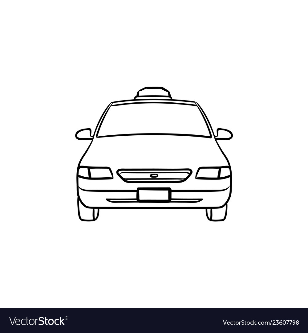 Taxi hand drawn outline doodle icon