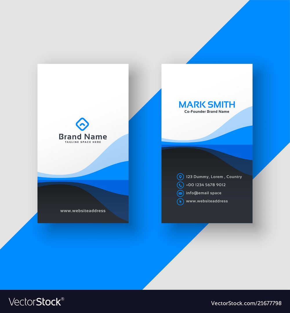 Vertical business card blue template