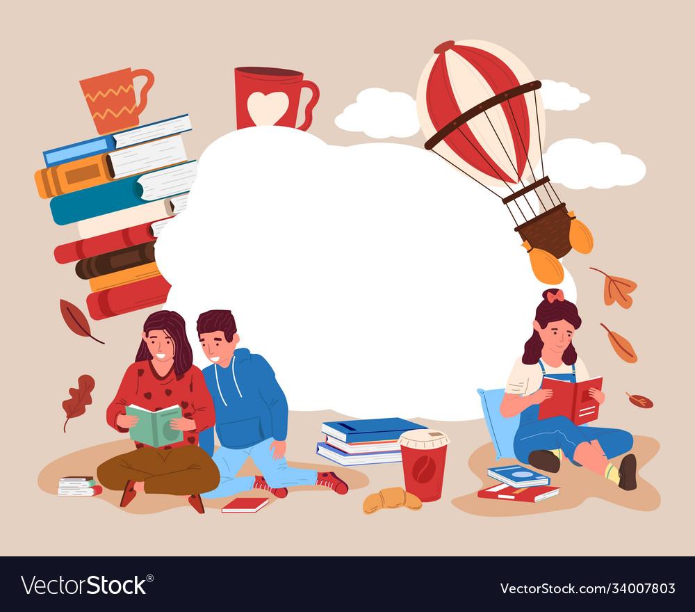 Children with books background happy cartoon kids