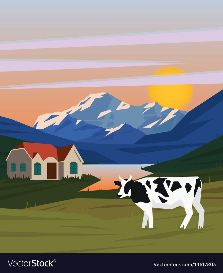 Colorful summer morning landscape background