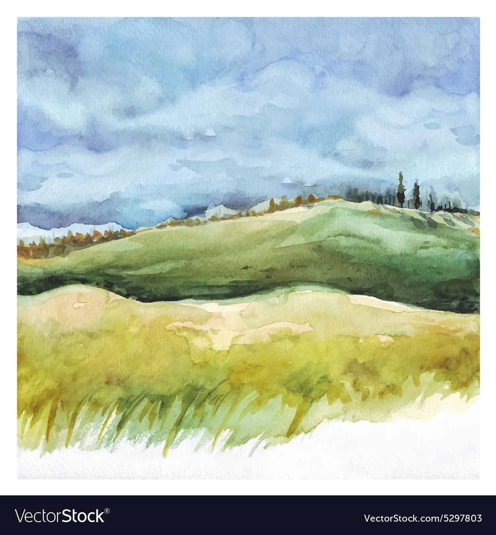 Field and forest Watercolor background