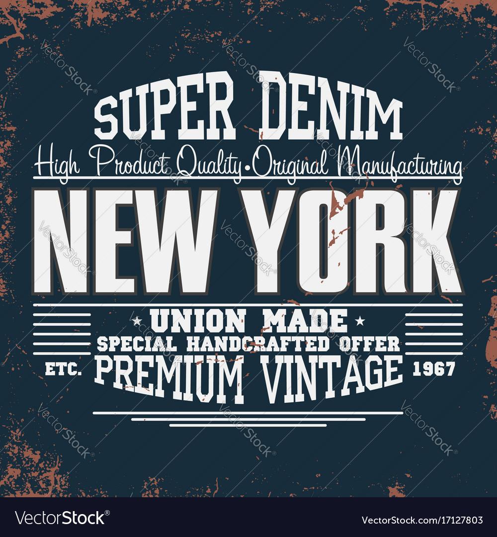 New york t-shirt graphics vintage denim typography