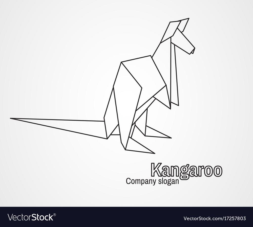 Origami logo contour kangaroo