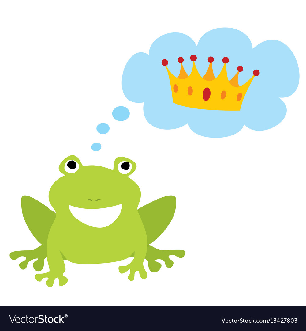 prince or princess frog dreaming about crown vector image rh vectorstock com Tree Frog Vector Vector The Crocodile