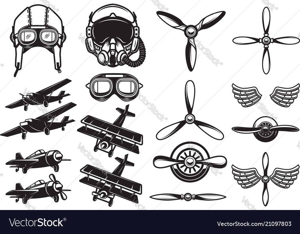 Set of airplanes propellers aviation design