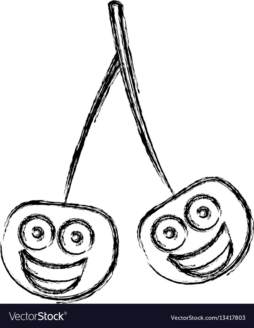 Silhouette kawaii happy cherrys icon