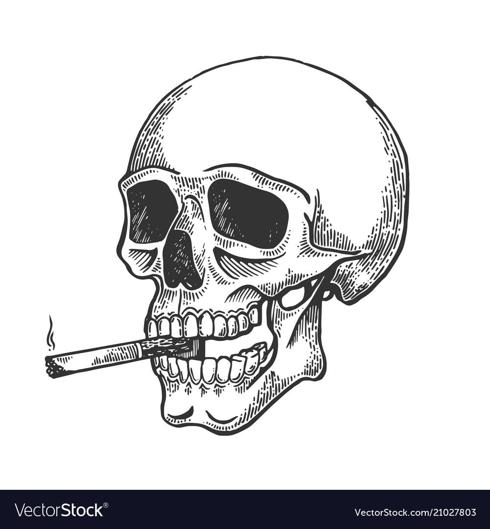 Skull smoking cigarette engraving