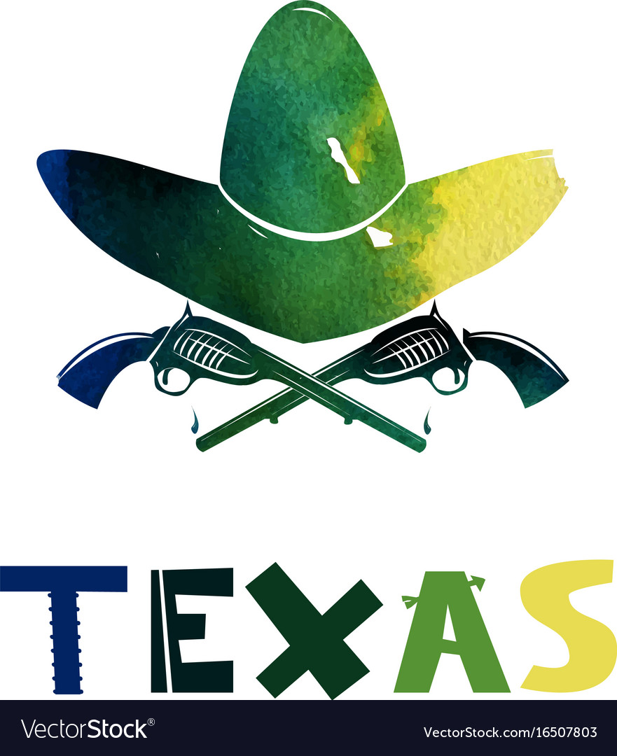 Texas watercolor weapons and cowboy hat firearms vector image