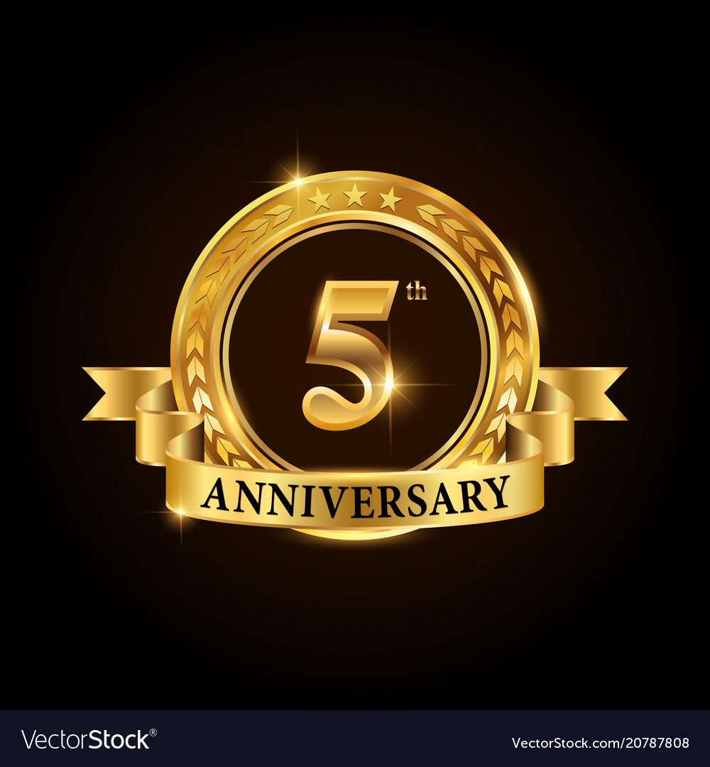 5 years anniversary celebration logotype