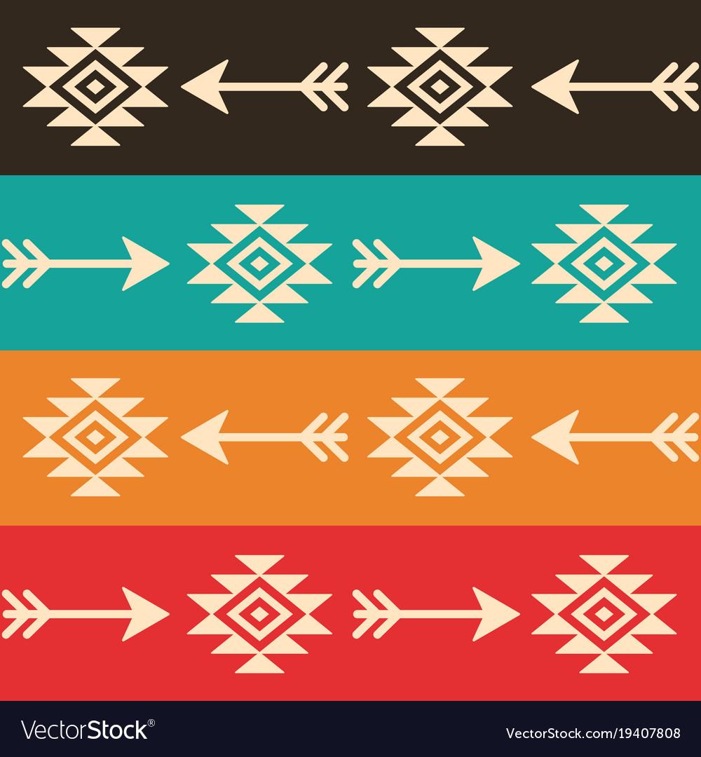 Aztec seamless pattern with arrows retro