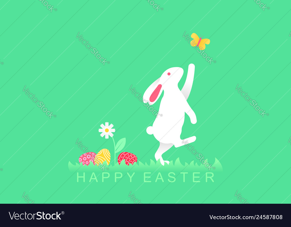 Easter bunny playing with butterfly and easter egg