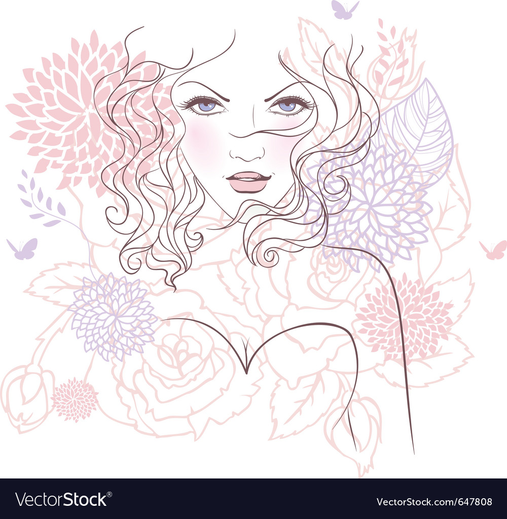 Face flower vector image