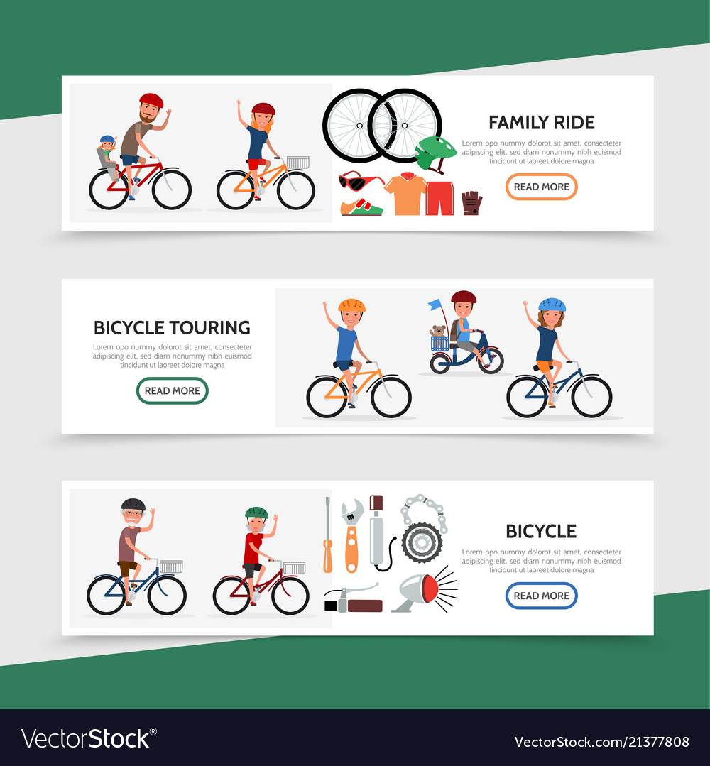 Flat bicycle colorful horizontal banners