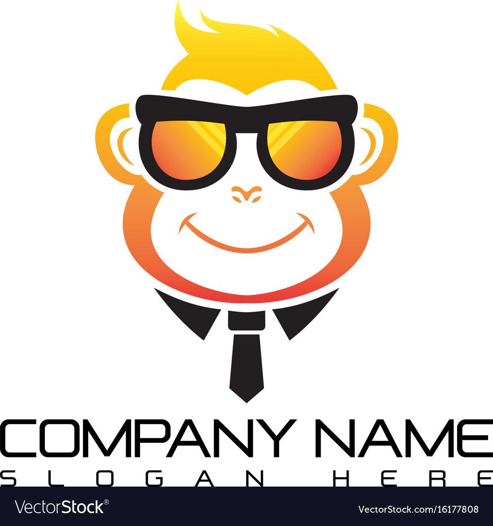 Geek monkey logo template vector image