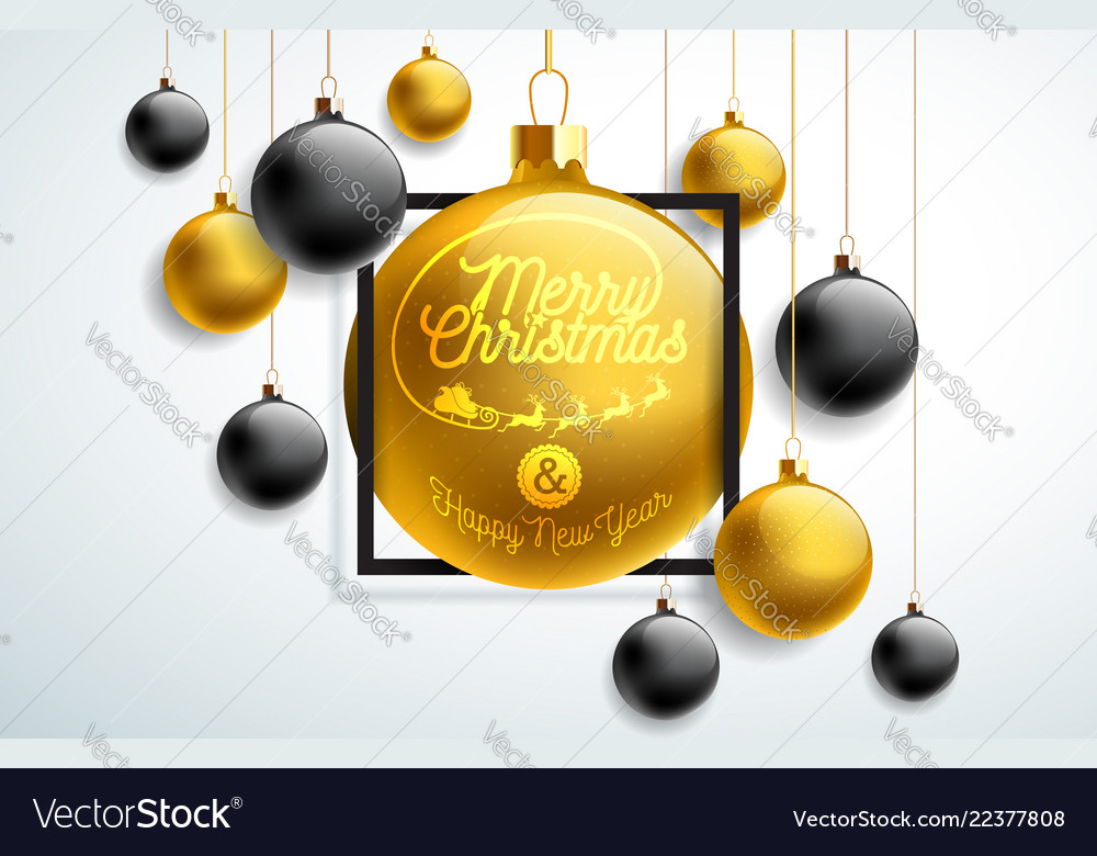 Merry christmas with gold and black