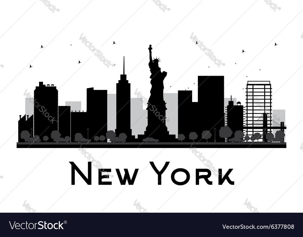 new york city skyline black and white silhouette vector image rh vectorstock com new york skyline silhouette vector new york city skyline vector