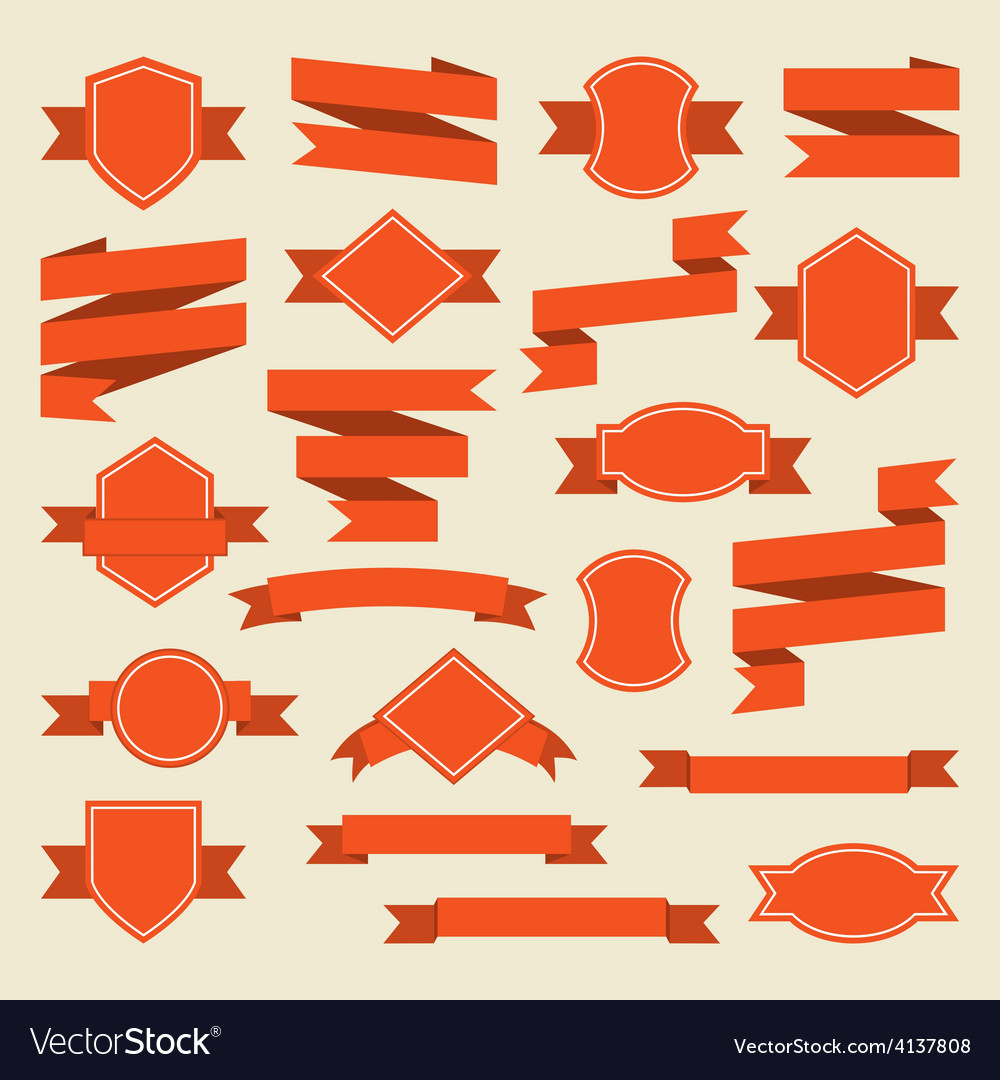 Orange ribbons and label set in flat style