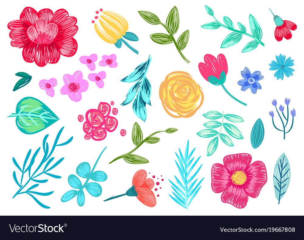 Pencil drawn flowers on white background pattern